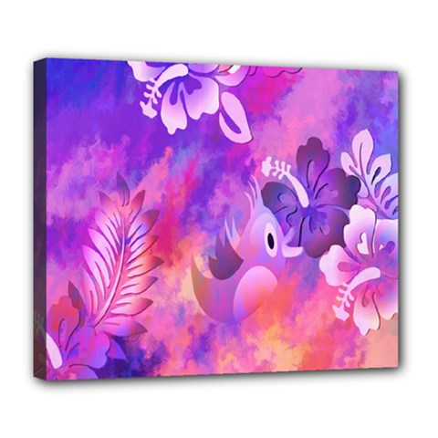 Abstract Flowers Bird Artwork Deluxe Canvas 24  x 20
