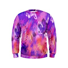 Abstract Flowers Bird Artwork Kids  Sweatshirt