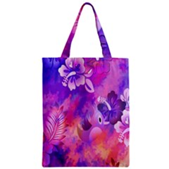 Abstract Flowers Bird Artwork Zipper Classic Tote Bag