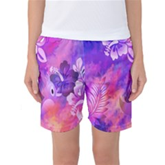 Abstract Flowers Bird Artwork Women s Basketball Shorts