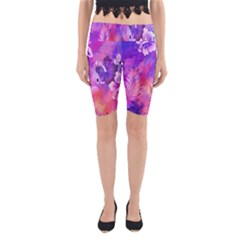 Abstract Flowers Bird Artwork Yoga Cropped Leggings