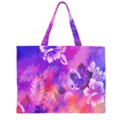 Abstract Flowers Bird Artwork Large Tote Bag