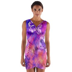Abstract Flowers Bird Artwork Wrap Front Bodycon Dress