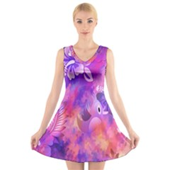 Abstract Flowers Bird Artwork V Neck Sleeveless Skater Dress