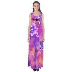 Abstract Flowers Bird Artwork Empire Waist Maxi Dress