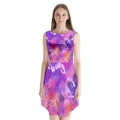 Abstract Flowers Bird Artwork Sleeveless Chiffon Dress