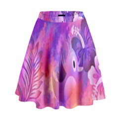Abstract Flowers Bird Artwork High Waist Skirt