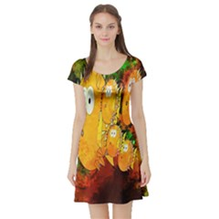 Abstract Fish Artwork Digital Art Short Sleeve Skater Dress