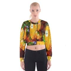 Abstract Fish Artwork Digital Art Women s Cropped Sweatshirt