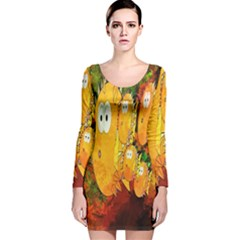 Abstract Fish Artwork Digital Art Long Sleeve Velvet Bodycon Dress