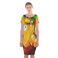 Abstract Fish Artwork Digital Art Classic Short Sleeve Midi Dress