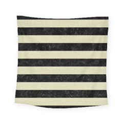 Stripes2 Black Marble & Beige Linen Square Tapestry (small)