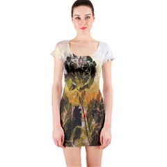 Abstract Digital Art Short Sleeve Bodycon Dress