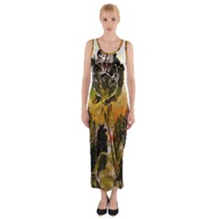 Abstract Digital Art Fitted Maxi Dress