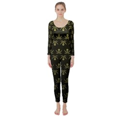 Abstract Skulls Death Pattern Long Sleeve Catsuit