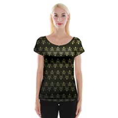 Abstract Skulls Death Pattern Women s Cap Sleeve Top