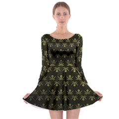 Abstract Skulls Death Pattern Long Sleeve Skater Dress