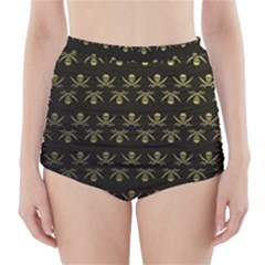 Abstract Skulls Death Pattern High-Waisted Bikini Bottoms