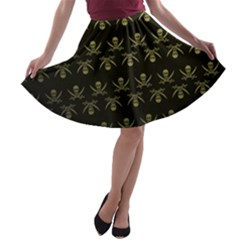 Abstract Skulls Death Pattern A-line Skater Skirt