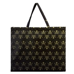 Abstract Skulls Death Pattern Zipper Large Tote Bag