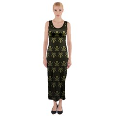 Abstract Skulls Death Pattern Fitted Maxi Dress