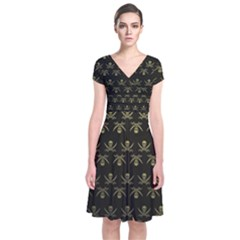 Abstract Skulls Death Pattern Short Sleeve Front Wrap Dress