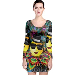 Abstract Digital Art Long Sleeve Bodycon Dress