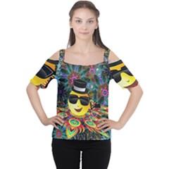 Abstract Digital Art Women s Cutout Shoulder Tee