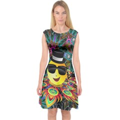 Abstract Digital Art Capsleeve Midi Dress
