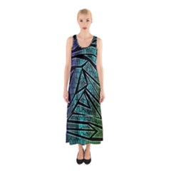 Abstract Background Rainbow Metal Sleeveless Maxi Dress