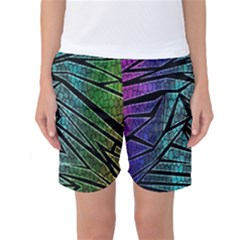 Abstract Background Rainbow Metal Women s Basketball Shorts