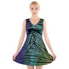 Abstract Background Rainbow Metal V Neck Sleeveless Skater Dress