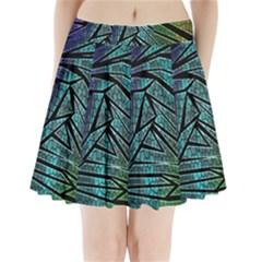 Abstract Background Rainbow Metal Pleated Mini Skirt