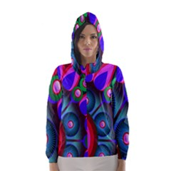 Abstract Digital Art  Hooded Wind Breaker (women)