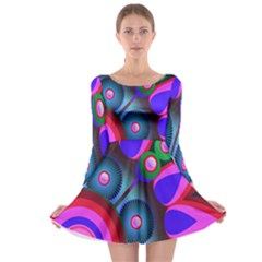 Abstract Digital Art  Long Sleeve Skater Dress
