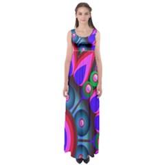 Abstract Digital Art  Empire Waist Maxi Dress