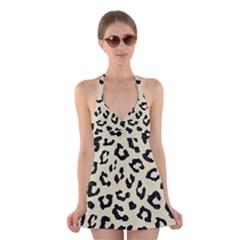 SKN5 BK-MRBL BG-LIN Halter Swimsuit Dress