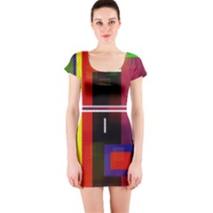 Abstract Art Geometric Background Short Sleeve Bodycon Dress