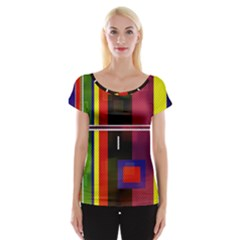Abstract Art Geometric Background Women s Cap Sleeve Top
