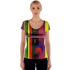 Abstract Art Geometric Background Women s V-Neck Cap Sleeve Top