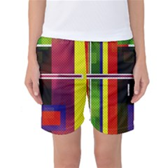 Abstract Art Geometric Background Women s Basketball Shorts