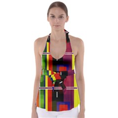 Abstract Art Geometric Background Babydoll Tankini Top