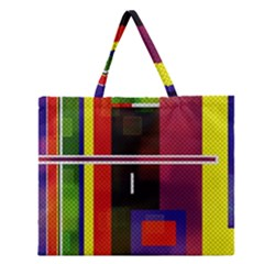 Abstract Art Geometric Background Zipper Large Tote Bag