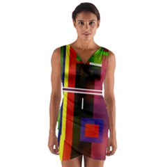 Abstract Art Geometric Background Wrap Front Bodycon Dress
