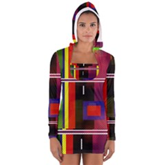 Abstract Art Geometric Background Women s Long Sleeve Hooded T-shirt