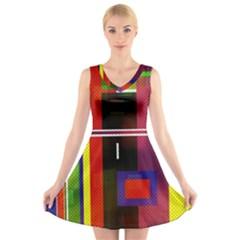 Abstract Art Geometric Background V Neck Sleeveless Skater Dress