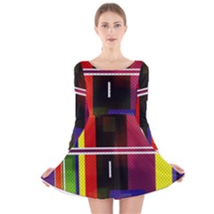 Abstract Art Geometric Background Long Sleeve Velvet Skater Dress