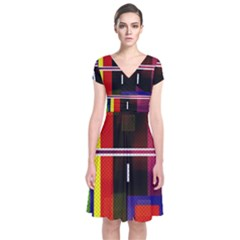 Abstract Art Geometric Background Short Sleeve Front Wrap Dress