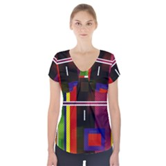 Abstract Art Geometric Background Short Sleeve Front Detail Top