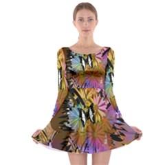 Abstract Digital Art Long Sleeve Skater Dress